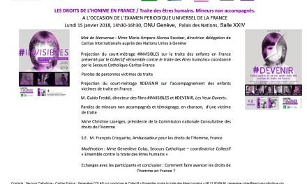 15 janvier 2018 / CARITAS INTERNATIONALIS – ONU GENEVE : Un message optimiste pour l'amélioration des droits de l'homme en France / Traite des êtres humains