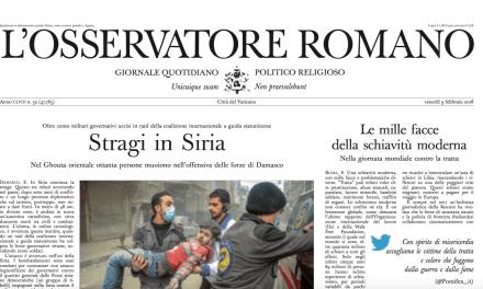 Osservatore Romano – Vatican newspaper deplores modern-day slavery / Le mille facce della schiavitù moderna