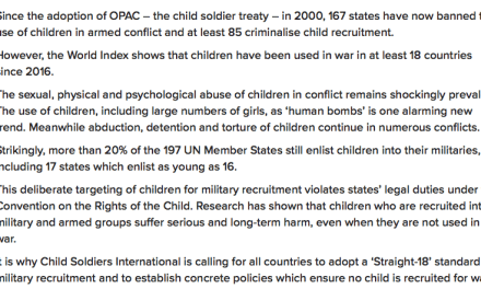 CHILD SOLDIERS INTERNATIONAL – Child Soldiers World Index reveals shocking scale of child recruitment around the world