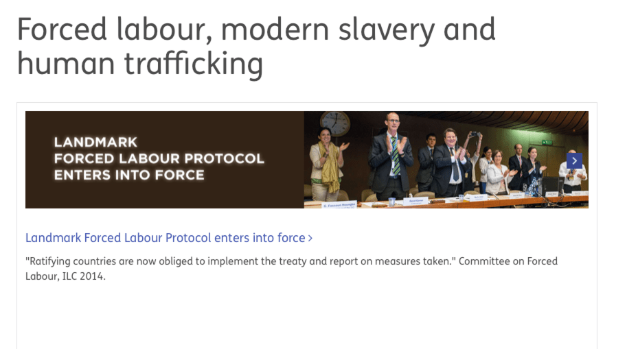 ILO – Forced labour, modern slavery and human trafficking