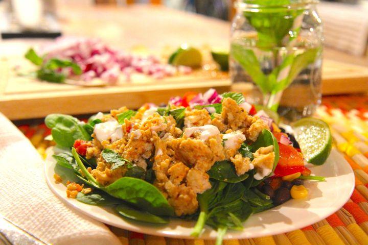 Healthy Taco salad with turkey, black beans and corn - tex mex recipe - gluten free, dairy free, slow carb - Christy Brissette media dietitian - 80 Twenty Nutrition