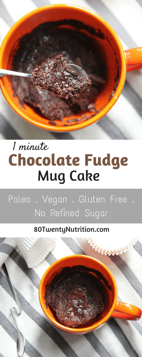 Paleo Chocolate Fudge Mug Cake - gluten free and vegan! Registered dietitian Christy Brissette, media and communications 80 Twenty Nutrition