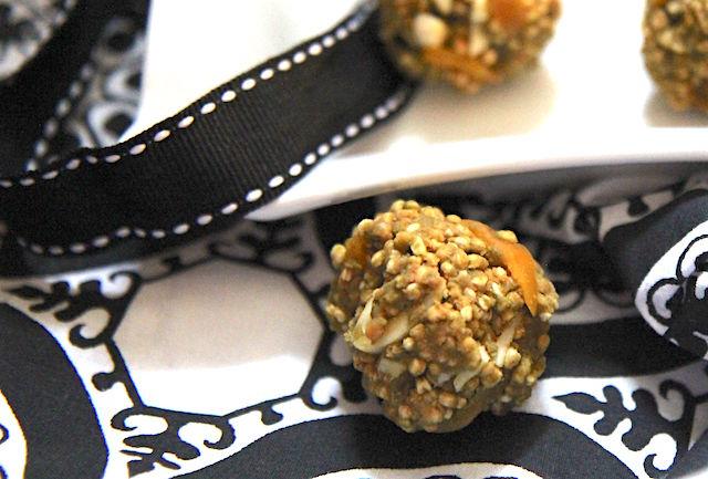 Quinoa mango almond energy bites - no bake, vegan, gluten-free - recipe by media registered dietitian nutritionist Christy Brissette 80 Twenty Nutrition
