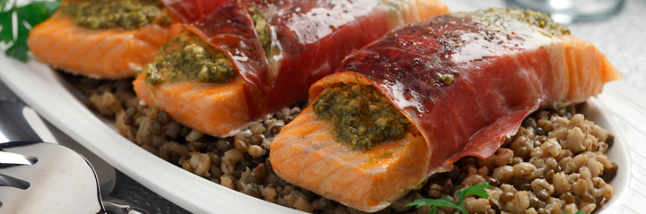Pesto Prosciutto Salmon with Lentil and Almond Wild Rice - CTV Ottawa Morning Live - media registered dietitian nutritionist Christy Brissette president of 80 Twenty Nutrition