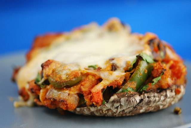 Low Carb Margherita Pizza with Portobello Mushroom Crust - Gluten-Free, Keto, Vegetarian - media registered dietitian Christy Brissette 80 Twenty Nutrition