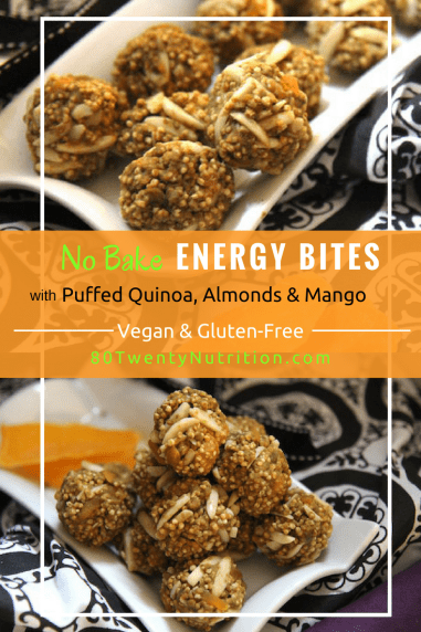 Puffed Quinoa Energy Bites with Mango and Almonds - Vegan, Gluten-Free, No Bake, No Refined Sugar. Recipe by media registered dietitian nutritionist Christy Brissette of 80 Twenty Nutrition www.80twentynutrition.com