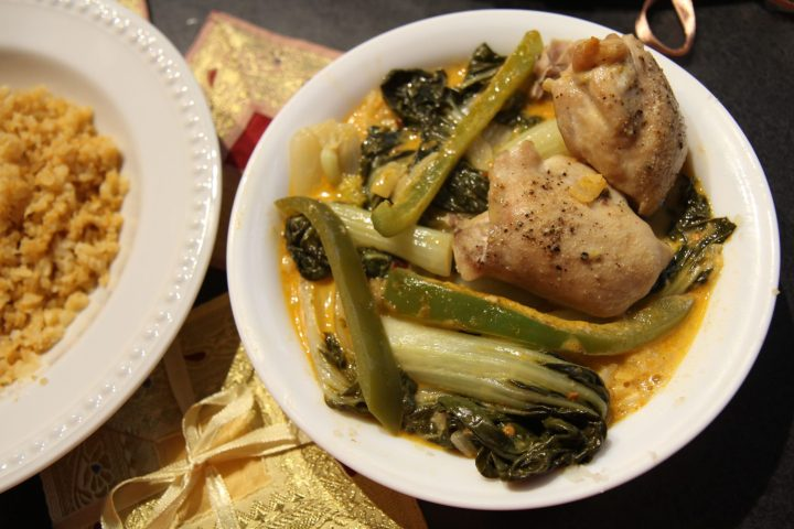 Thai Coconut Red Curry Chicken Thighs with Bok Choy - keto, low carb, gluten-free, dairy-free, paleo - recipe by Christy Brissette, media registered dietitian nutritionist, 80 Twenty Nutrition