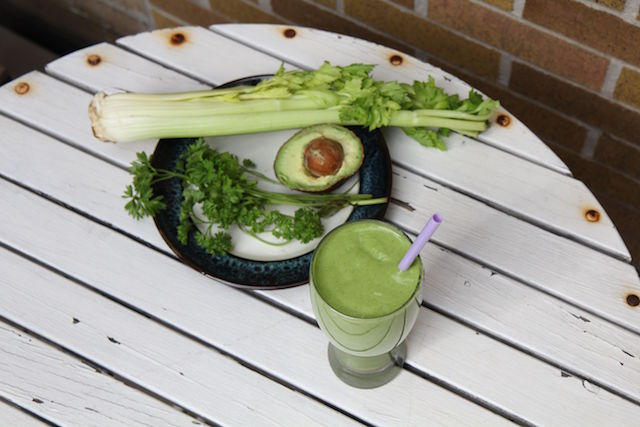 Green Goddess Smoothie - vegan and paleo green smoothie with microgreens, hemp, avocado, parsley, celery, cucumber and spinach - recipe by Christy Brissette media registered dietitian nutritionist - president of 80 Twenty Nutrition Communications - Toronto and California