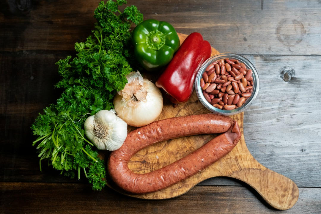 Ingredients for red beans with sausage