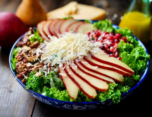pear and pomegranate salad with candied pecans