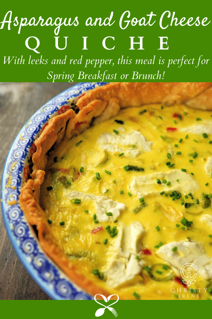 This leek, asparagus, and goat cheese quiche is a delicious custardy meal made with Spring vegetables perfect for Spring breakfast or Brunch.