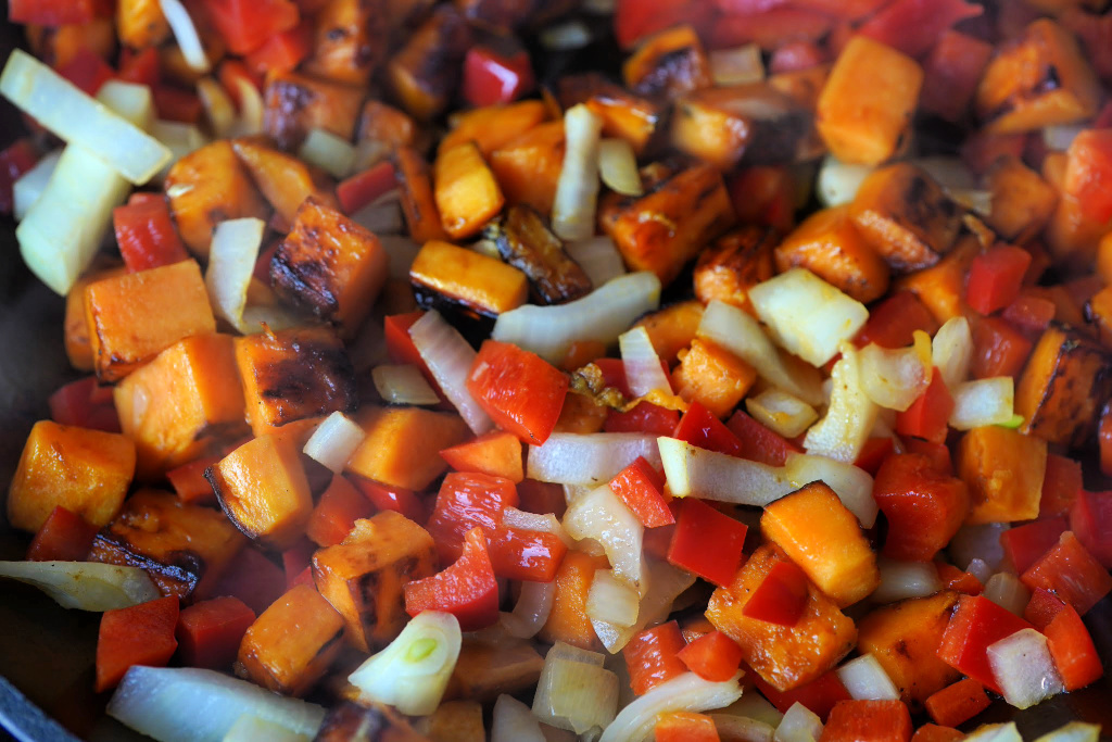 Sweet Potato and Red Pepper Hash