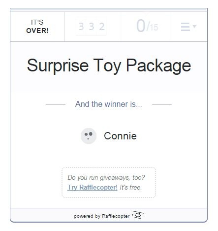 Surprise Toy Pkg Rafflecopter with giveaway winner