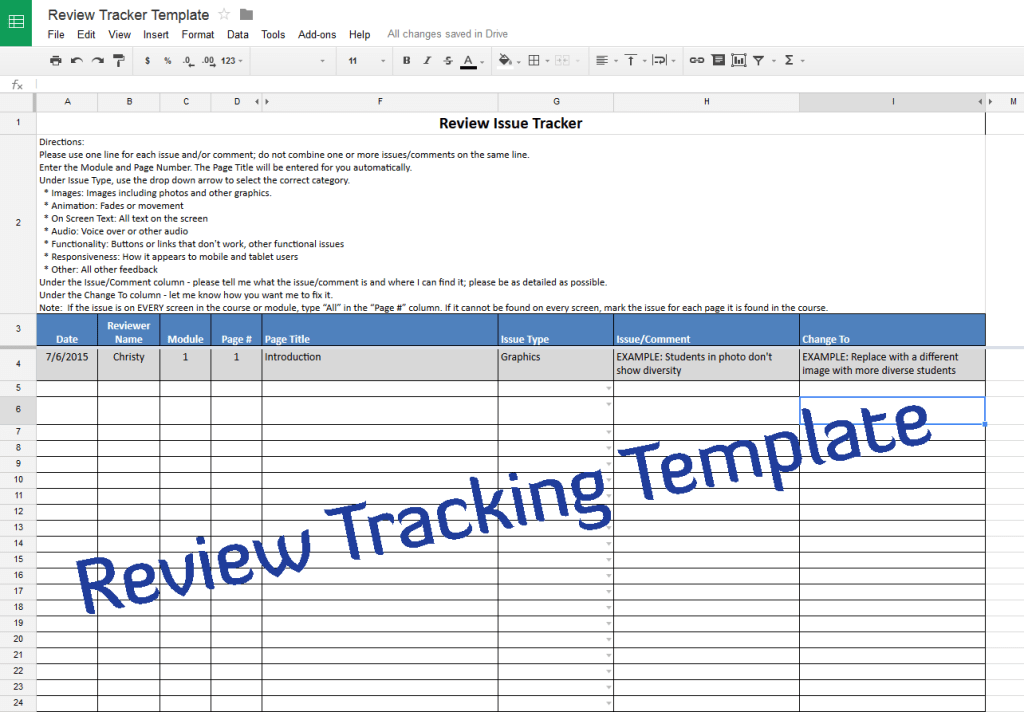 Course Review Tracking Template  Experiencing E