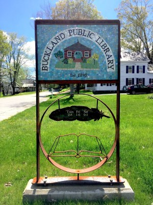 Buckland Public Library Mosaic Metal Work Sign