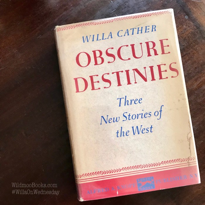 Obscure Destinies, First Edition Photos, WildmooBooks.com