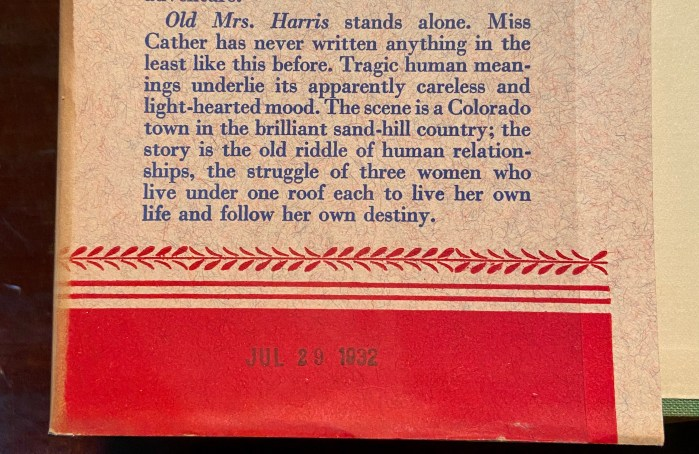"Jacket blurb about ""Old Mrs. Harris"""