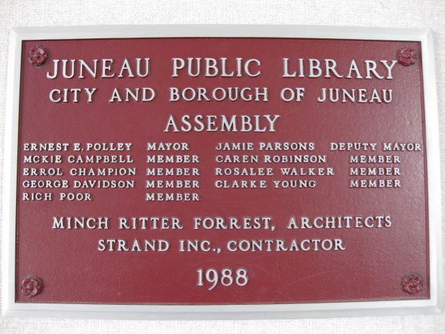 Library Visit: Juneau, Alaska - plaque