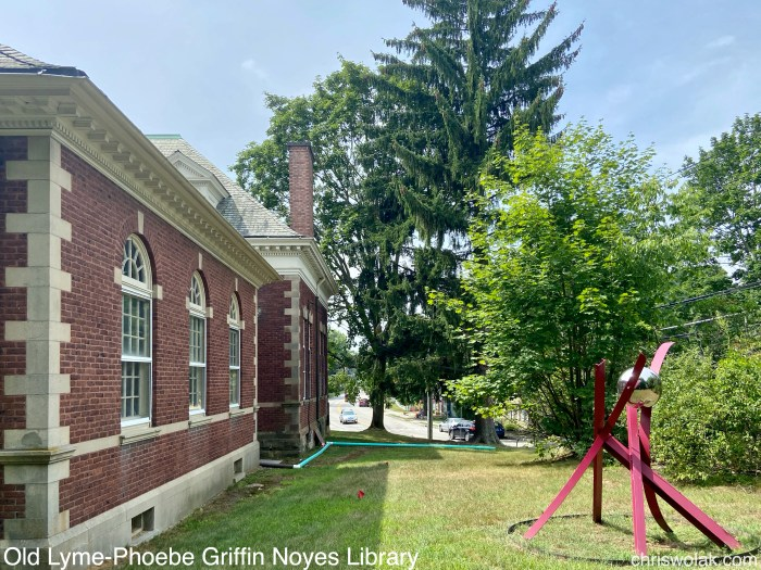 View from the rear with art sculpture Old Lyme-Phoebe Griffin Noyes Library
