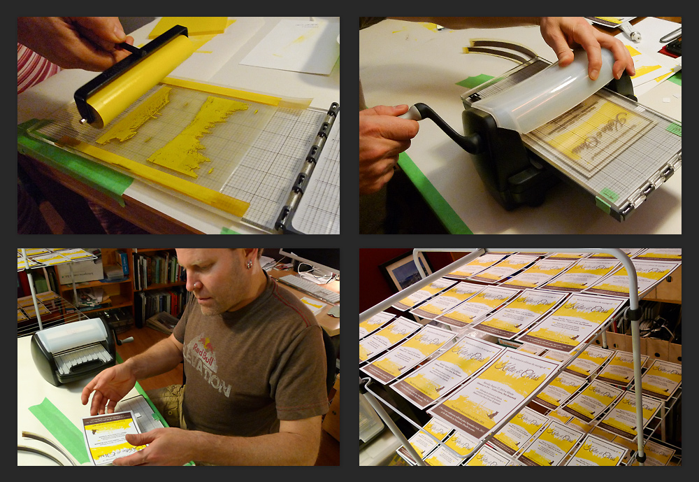 From top left: Katie rolls the yellow ink, the first colour onto the printing plate; me rolling the second colour, the brown ink through the Epic letterpress printer; me carefully handling a freshly printed invitation; and all the invitations on the drying rack.