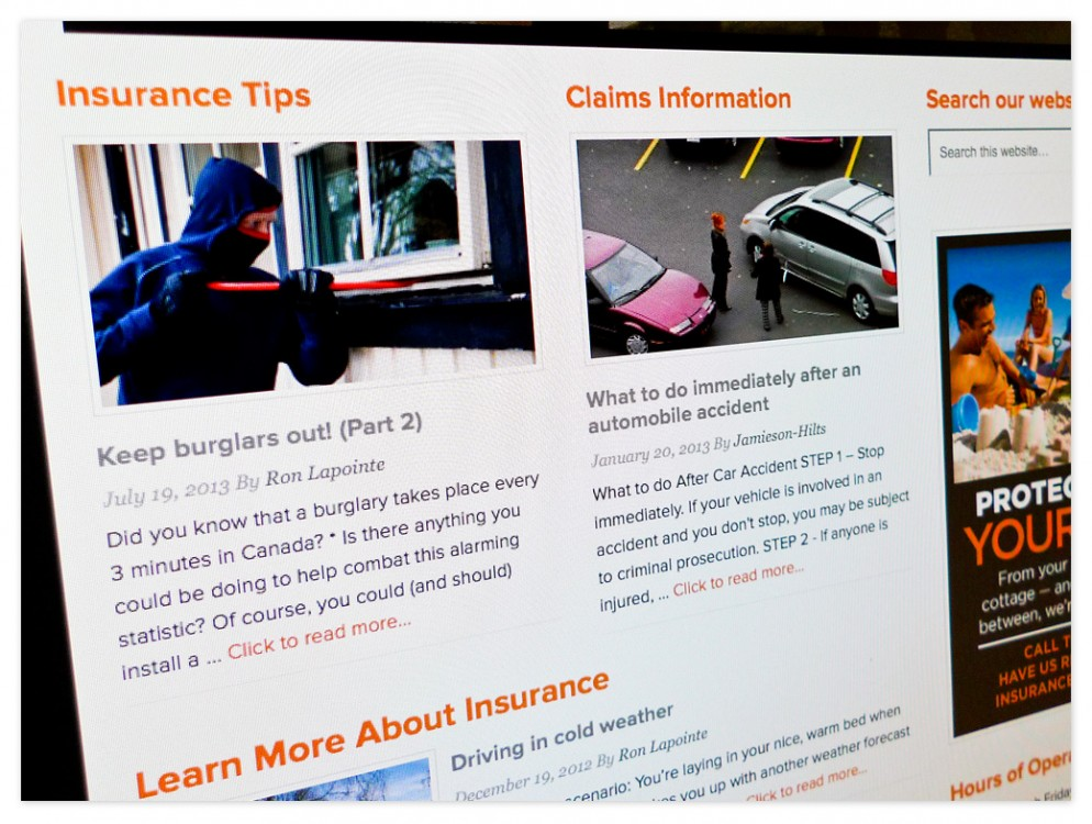 Insurance Tips and Claims Information appear on the front page of the website.
