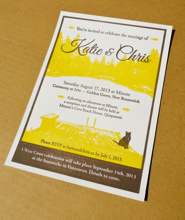 The final wedding invitation – two inks and a blind deboss letterpressed onto Crane's Lettra paper.