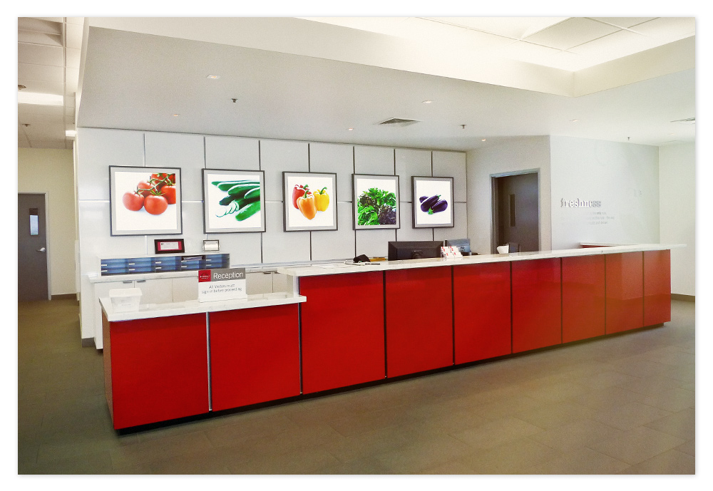 Reception area desk with the matching high gloss red and white panels, and 5 LED panels highlight Windset's produce.