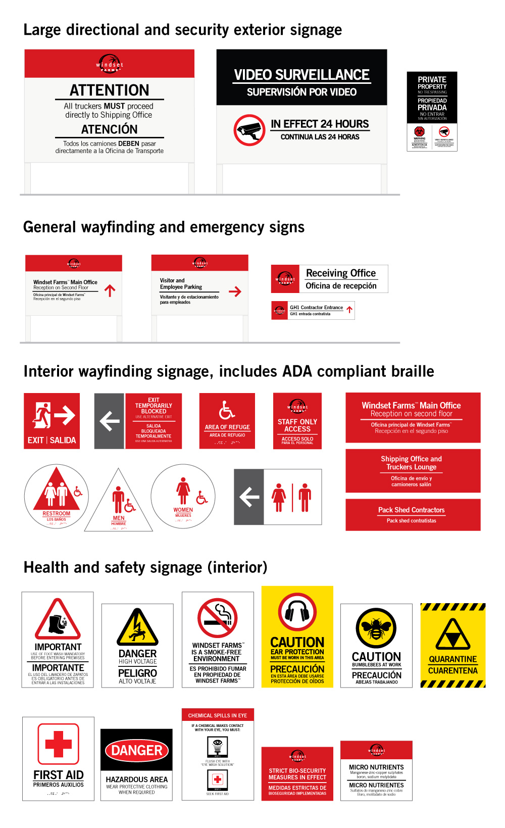 Overview of the different types of signage applied on site, ranging from large in-ground directional signage to the ADA compliant washroom signage.