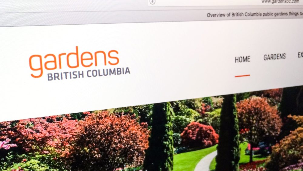 The Gardens BC logo on the website.