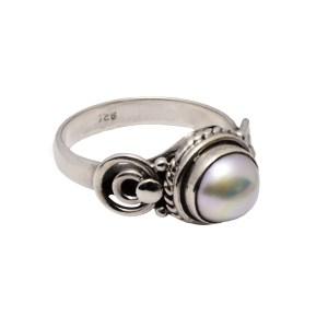 Δαχτυλίδι ασήμι 925° με Μαργαριτάρι με σκάλισμα