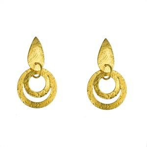 Σκουλαρίκια με γεωμετρικά σχήματα από Επιχρυσωμένο & Επιροδιωμένο Μπρούντζο