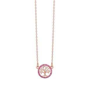 Κολιέ από ασήμι 925° σε Ροζ Χρυσό με Δέντρο Ζωής & Ροζ Ημιπολύτιμες Πέτρες (Ζιργκόν)