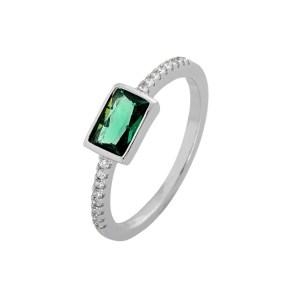 Δαχτυλίδι από Ασήμι 925° με Πράσινη Πέτρα & Μικρότερες Λευκές Ημιπολύτιμες Πέτρες (Ζιργκόν)