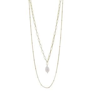 Κολιέ από Ασήμι 925° σε Ροζ Χρυσό Χρώμα με μια Κρεμαστή Πέρλα & Διπλή Αλυσίδα