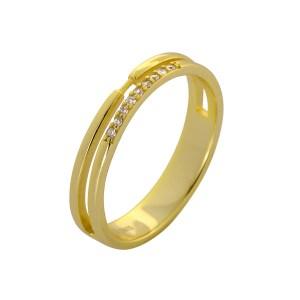 Δαχτυλίδι από Ασήμι 925° Επιχρυσωμένο Διπλό με Λευκές Ημιπολύτιμες Πέτρες (Ζιργκόν) στη μία Πλευρά