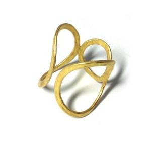 Δαχτυλίδι Μεταλλικό Μπρούτζινο Χυτό με Κύκλους 19x17mm