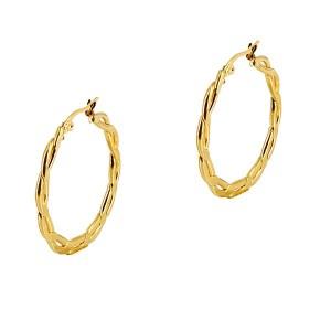 Σκουλαρίκια Kρίκοι σε Χρυσό Χρώμα από Ανοξείδωτο Ατσάλι σε Σχήμα Πλεξίδας Δ4ΕΚ
