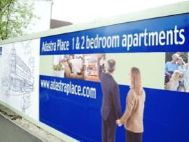 Outdoor signage - hoarding banner. Chromatics UK. Sussex