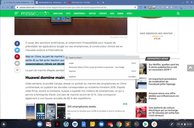 Copier un texte sur Chrome puis le partager vers un autre appareil !