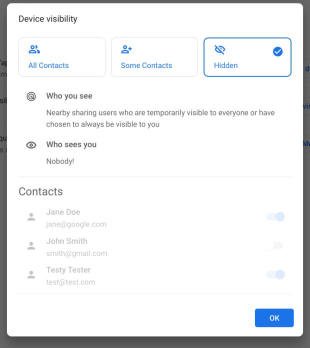 Nearby Sharing : gestion de la visibilité du Chromebook