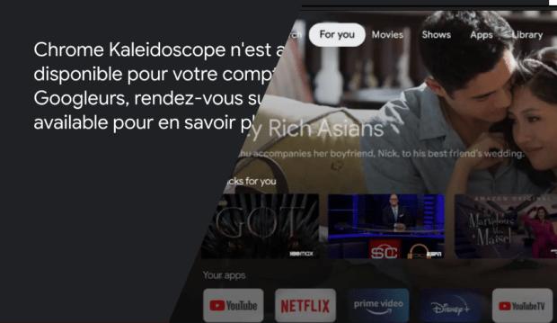 Kaleidoscope : Google TV directement sur Google Chrome ?