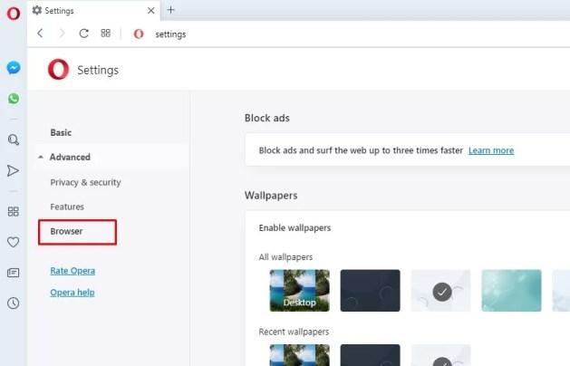 Browser option