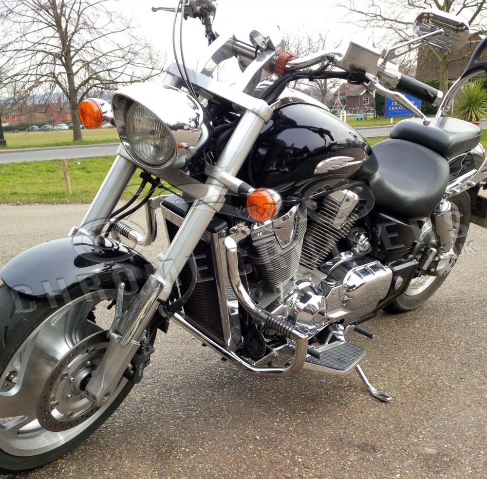 medium resolution of honda vtx1800 custom shadow engine crash bar guard with built in highway pegs