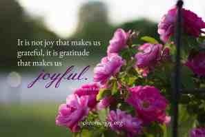 Gratitude makes us joyful