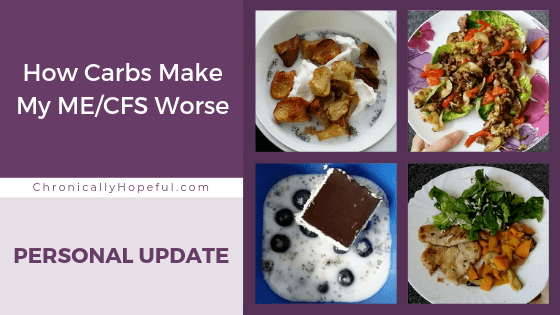 A collage of 4 meals, title reads: How carbs make my MEcfs symptoms worse. Personal update