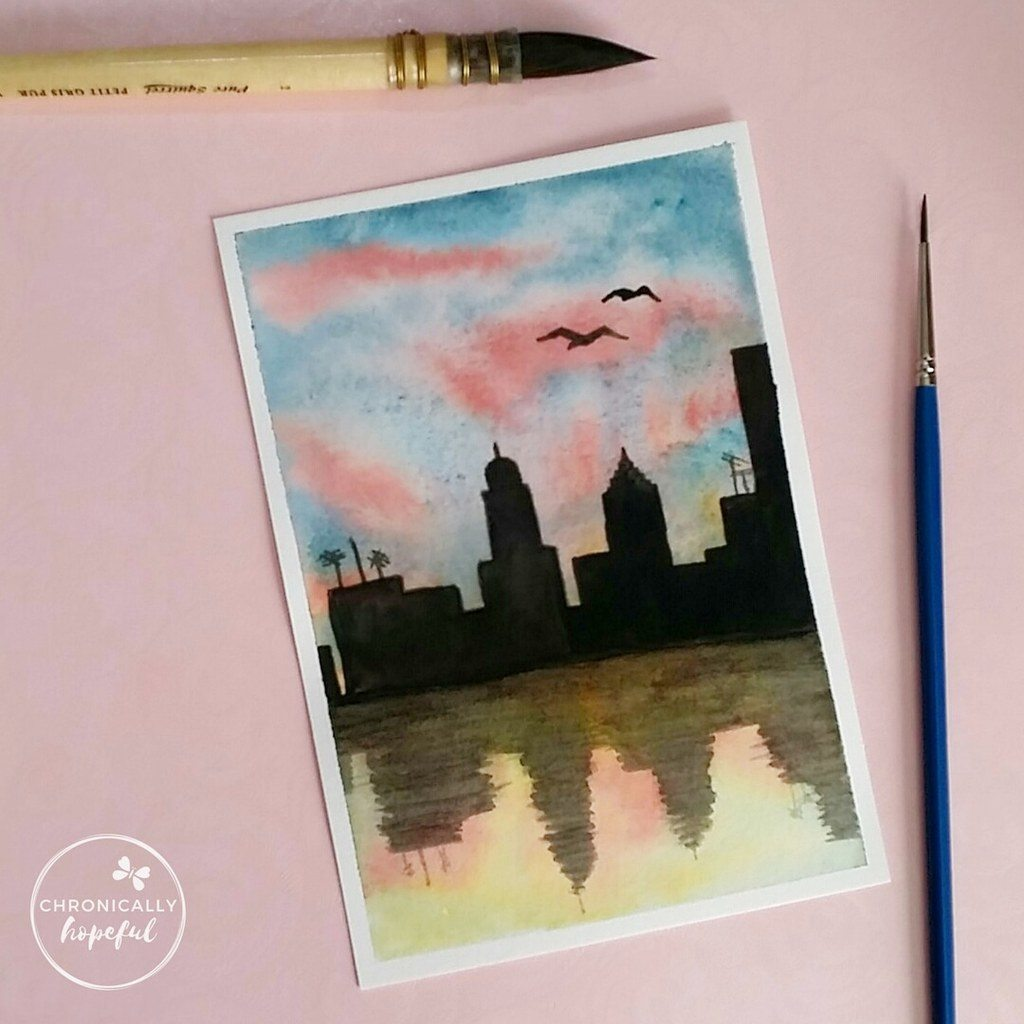 The 100 Day Project, Watercolour Sunset, Cityscape