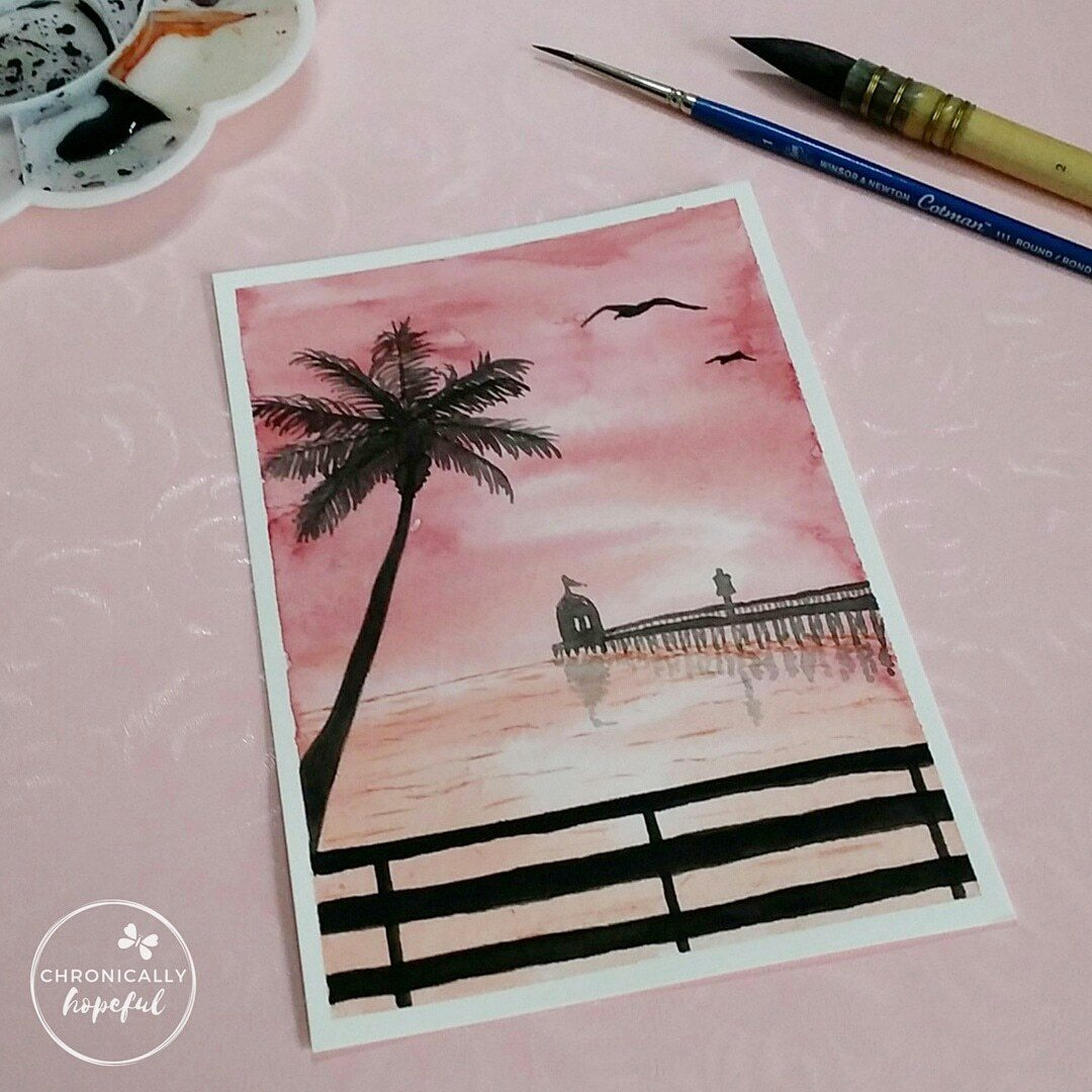 The 100 Day Project, Watercolour Sunset, Orange Seaside