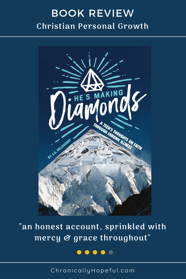 Book cover features a diamond shaped mountain with title He's Making Diamonds written above in the dark blue sky
