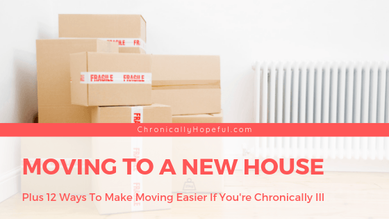 A pile of boxes stacked up next to a radiator. Title reads Moving to a new house, plus 12 tips to make moving easier