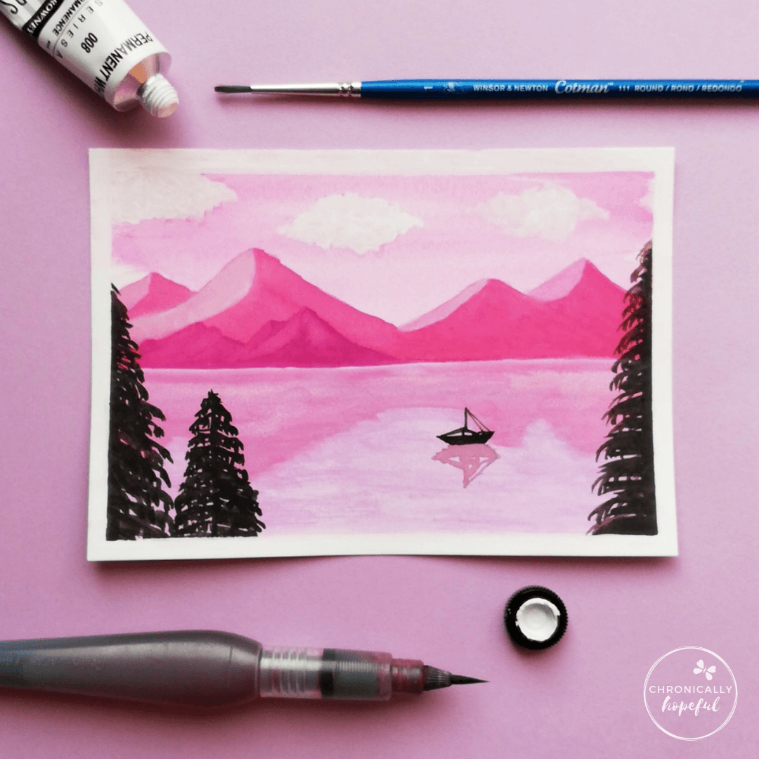 Daytime lake and mountains scene in watercolour, with clouds, a boat and 3 conifers in the foreground, by Chronicaly Hopeful Char